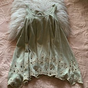 Free People pale green eyelet tank